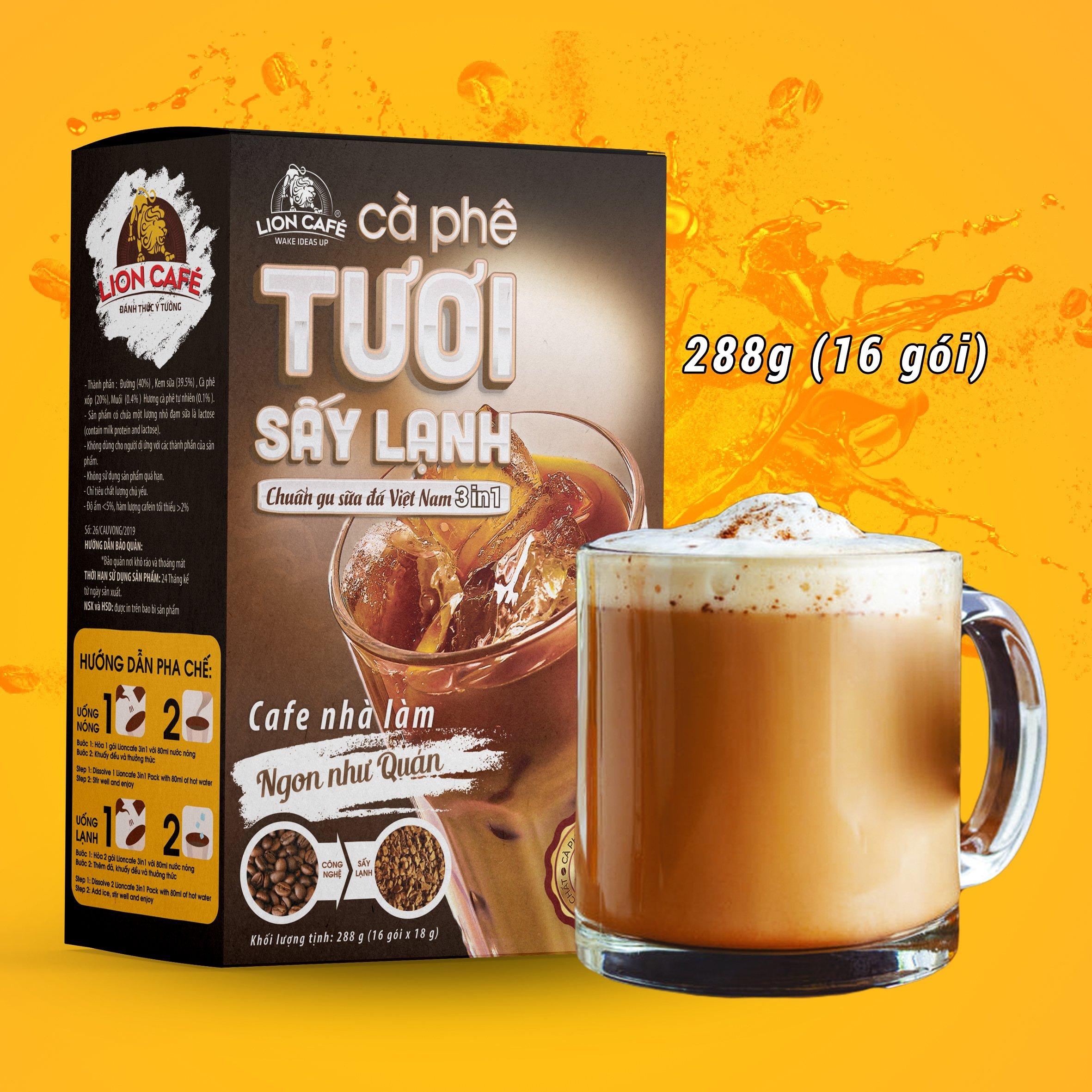 Cà phê tươi hòa tan LION 3in1 sấy lạnh